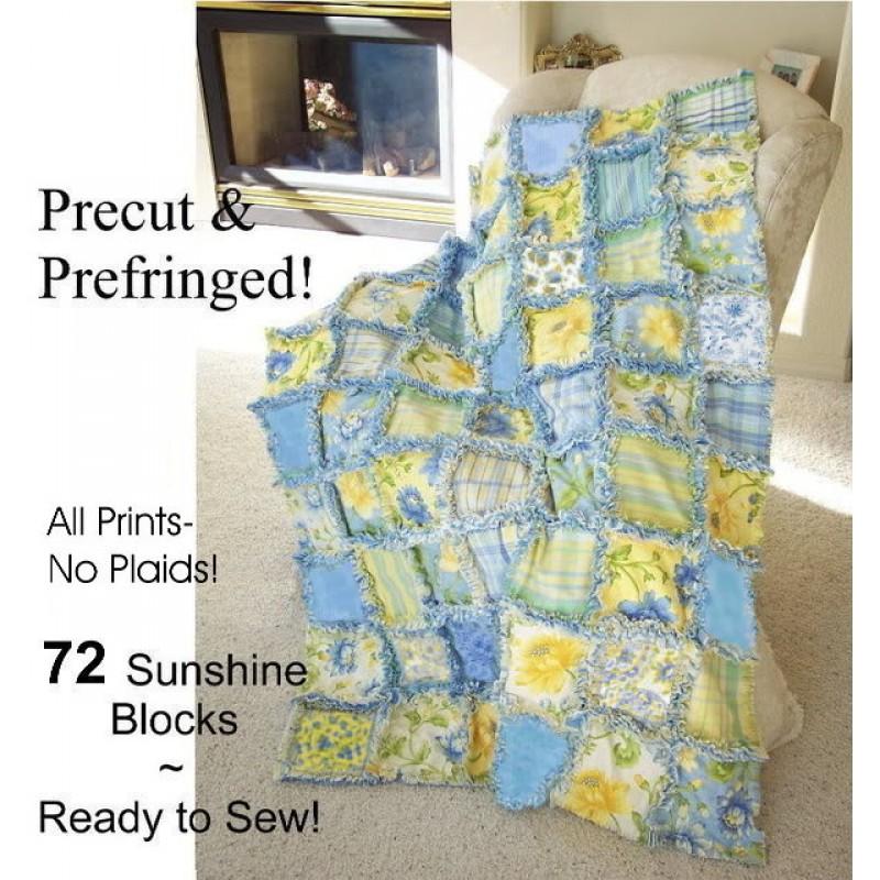 Summer Breeze Prefringed Rag Quilt Kit Jelly Rolls 2 Go