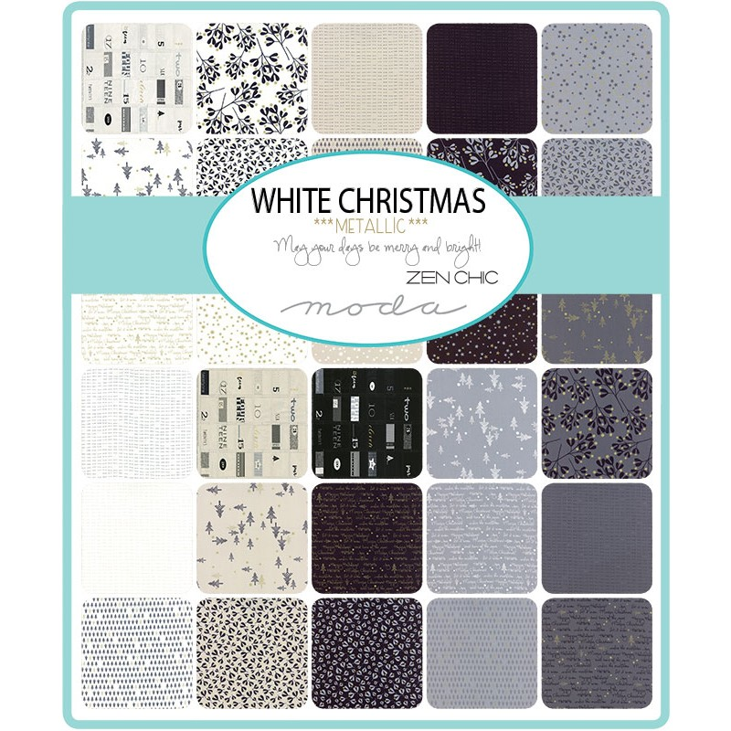 White Christmas Metallic Moda Swatch