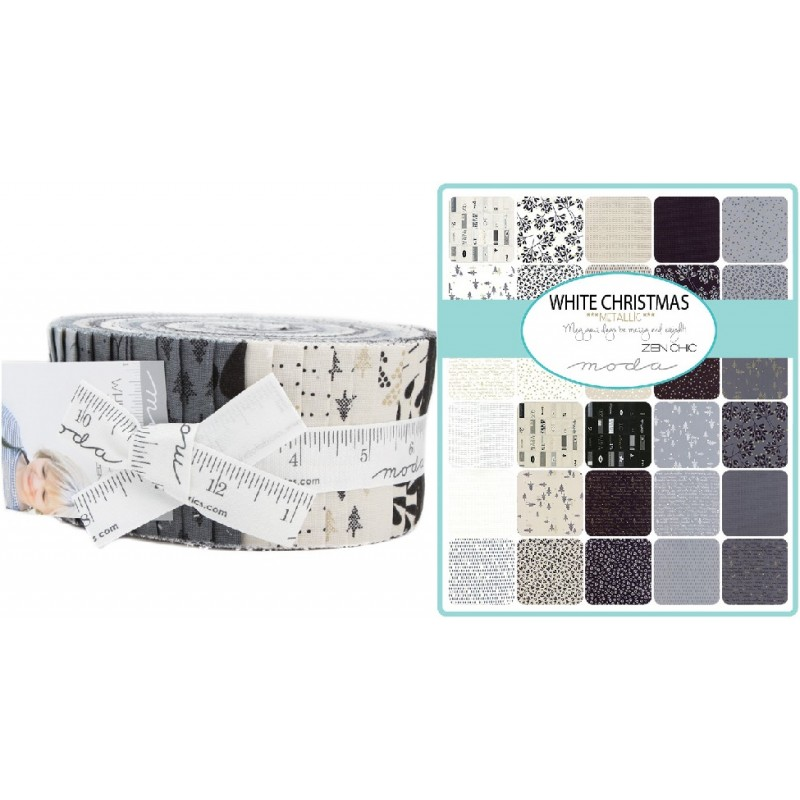 White Christmas Metallic Moda Jelly Roll