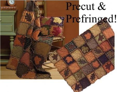 Autumn Leaves Prefringed Rag Quilt Kit-0