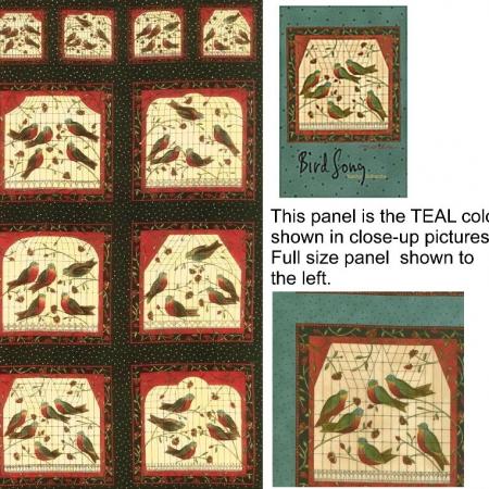 Bird Song Fabric Panel Teal-0