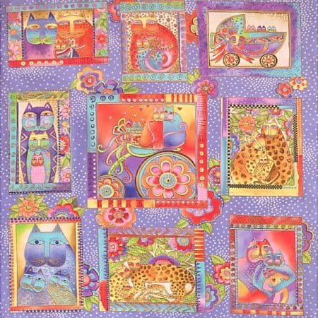 Fanciful Felines Fabric Panel - Lilac-0