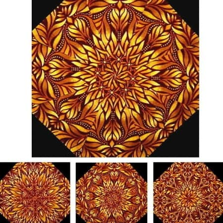 Gold Luminosity Kaleidoscope Quilt Kit-0
