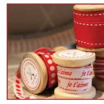 "French General Trim 1/2"" Red Woven ""je t'aime"" on White-0"