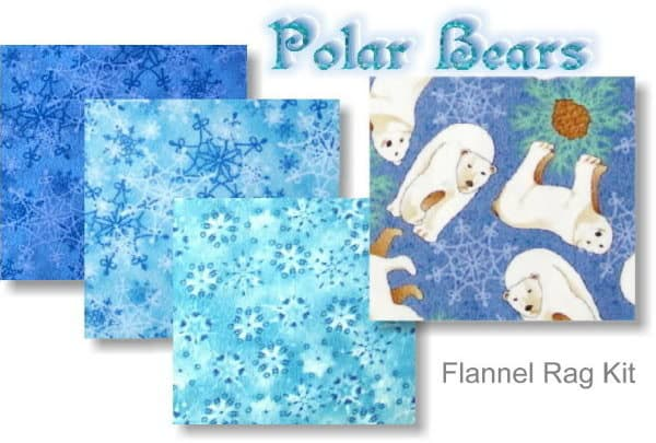 Polar Bears Prefringed Rag Quilt Kit