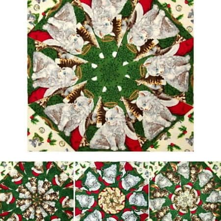 Christmas Kittens Kaleidoscope Quilt Kit-0