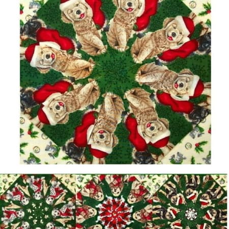 Christmas Puppies Kaleidoscope Quilt Kit-0