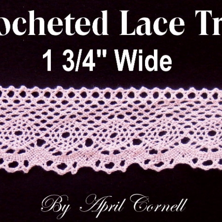 Pink Crocheted Scalloped Edge Lace-0