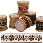 """French General Trim 1"""" Brown Floral-0"""