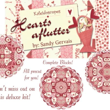 Hearts Aflutter Kaleidoscope Quilt Kit-0
