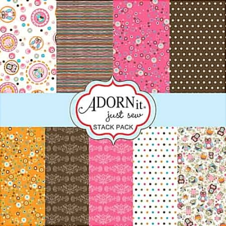 Adornit Fabric Stack Pack - Life's a Hoot Layer Cake - Pink-0