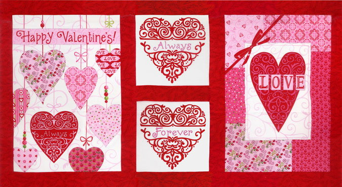 Always and Forever Fabric Panel - Red-0