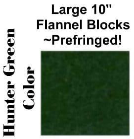 """10"""" Flannel Squares Prefringed - Hunter Green-0"""