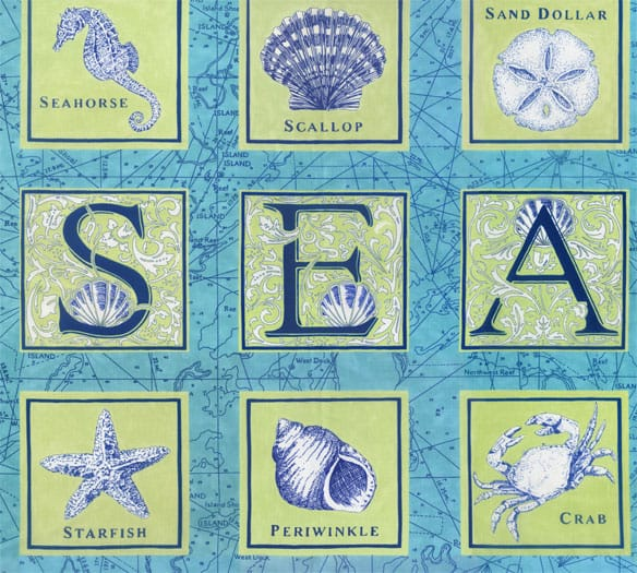 Seascapes Fabric Panel - Caribbean Blue-0