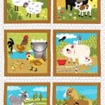 Oink A Doodle Moo Fabric Panel + FREE PATTERN-0