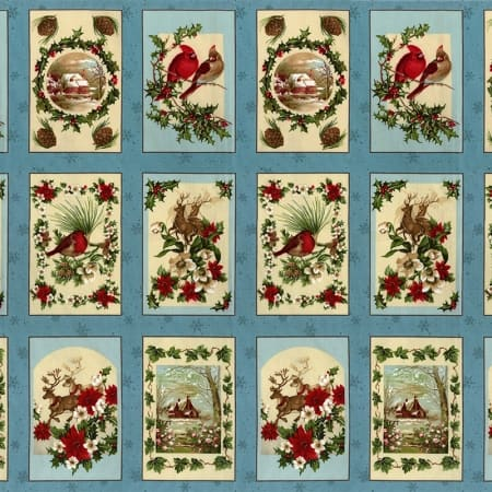 Seasons Greetings Fabric Panel - Ice Blue-0