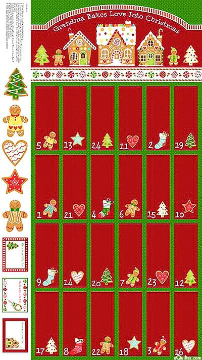 Gingerbread Treats Advent Fabric Panel -0