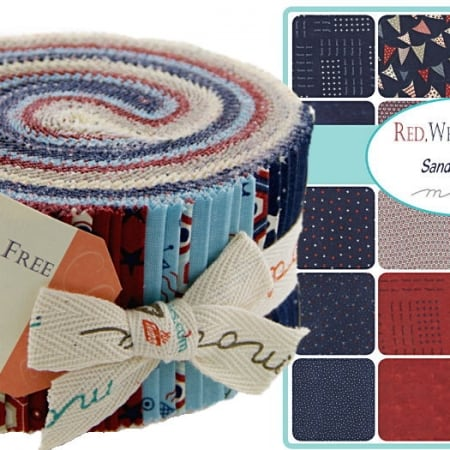 Red White & Free Moda Jelly Roll-0