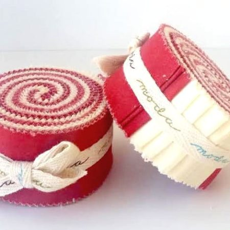Red & White Moda Mini Honey Bun-0