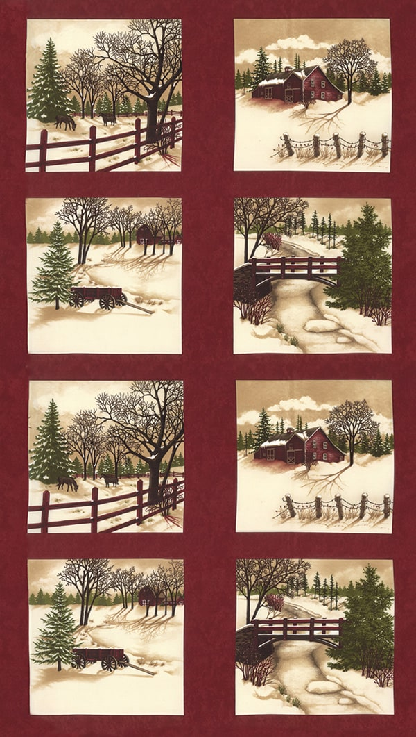 Through The Winter Woods Panel Red