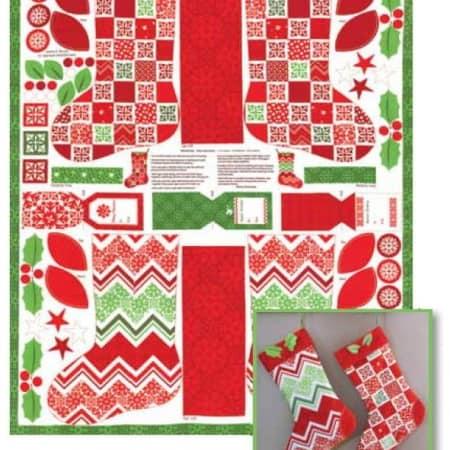 Joy Christmas Stockings & Tags Panel-0