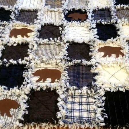 Lakeside Bears Prefringed Rag Quilt Kit-0