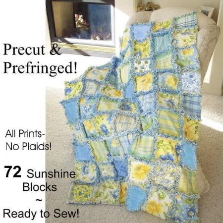 Summer Breeze Prefringed Rag Quilt Kit-0
