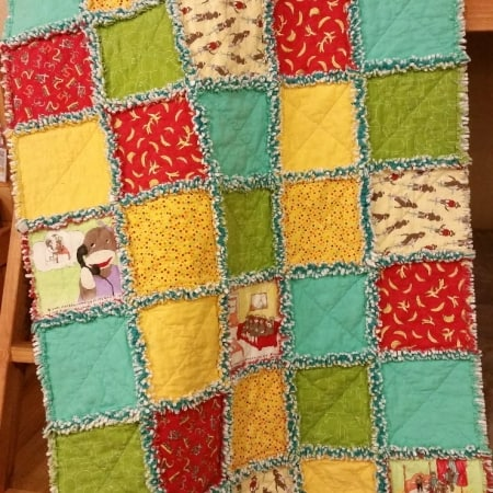 Funky Monkey Prefringed FLANNEL Rag Quilt Kit-0