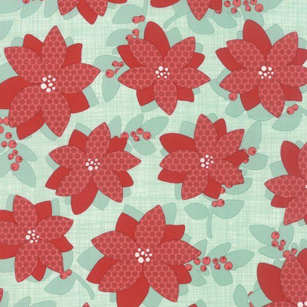 "Winterberry Floral Mint Prefringed 10"" Blocks-0"