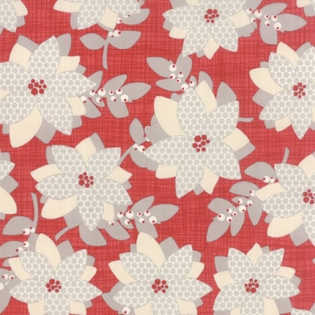 "Winterberry Floral Print Red Prefringed 10"" Blocks-0"
