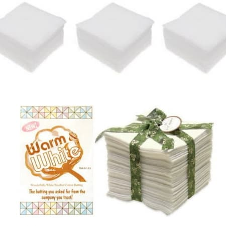 Warm & White Cotton Batting Squares 5 Inch-0