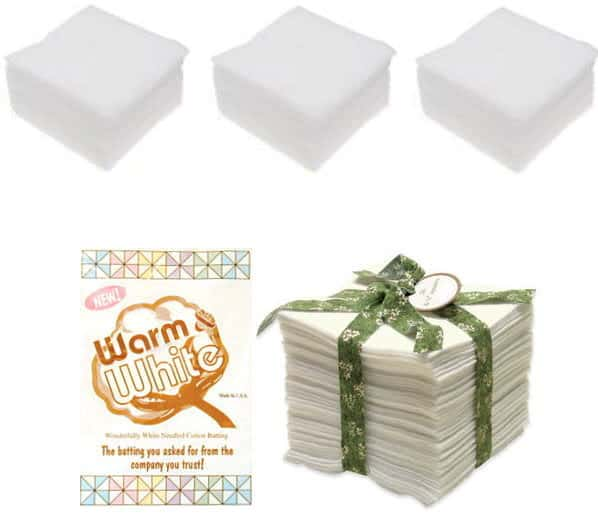 Warm & White Cotton Batting Squares 5 Inch-0