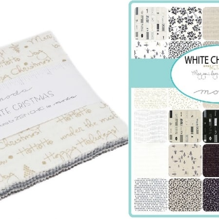 "White Christmas Metallic Moda 5"" Charm Pack"