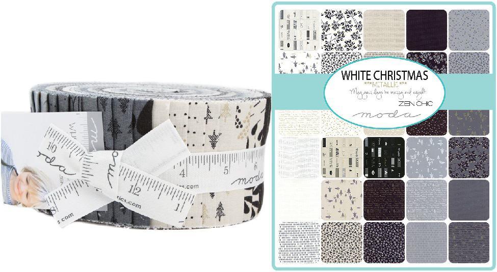 White Christmas Metallic Moda Jelly Roll