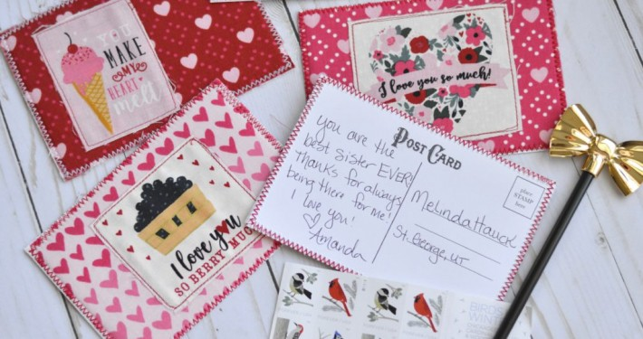 postcards made of fabric